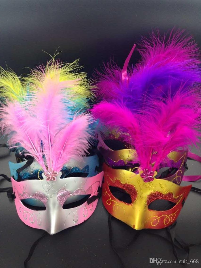 Christmas light emitting feather mask dance princess half face mask female children toys wholesale gift show props
