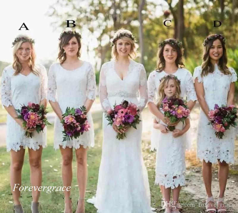 Дешевые кружева лето бохо платье невесты сад страна формальная свадьба гость фрейлина платье плюс размер на заказ