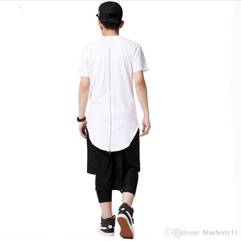 Heiße Männer-T-Shirt Tyga kühlen übergroßer Gold-Seiten-Reißverschluss-Hip Hop Erweiterte T-Shirt Top-T-Shirts der beiläufigen Hemd-Kleidung-freies Verschiffen