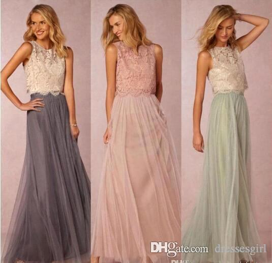 Beautiful Two Pieces Lace Cheap Bridesmaid Dresses Tulle Ruched Floor Length Blush Mint Grey Bridesmaid Gowns Party Dresses BA2276