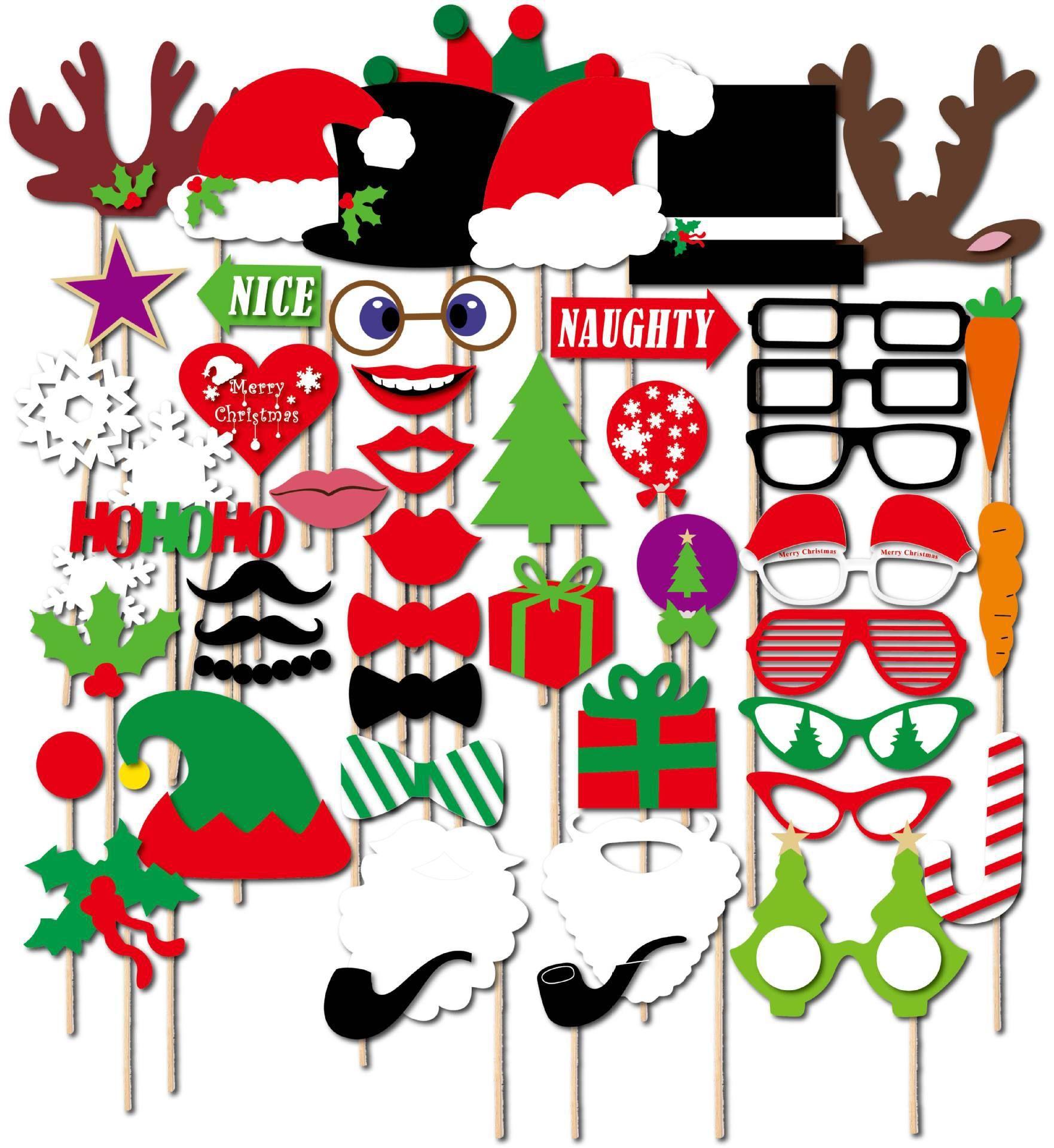50pcs um conjunto de Natal decorações adereços foto representados graficamente barba engraçado modelagem
