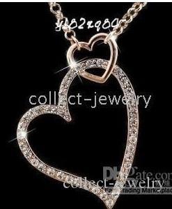 18K Gold Crystal Double Heart Halskette Neu