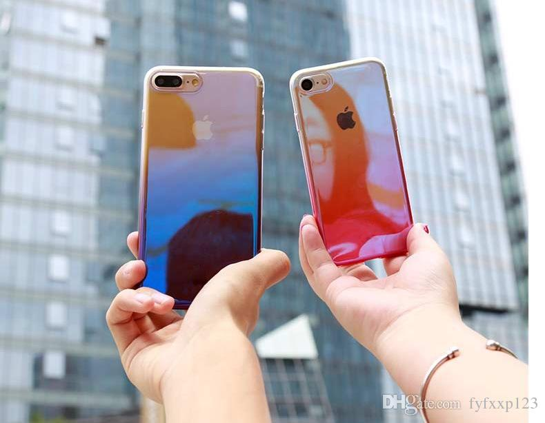 HOT for iPhone X 8 Case Electroplate Gradient Cover Two Tone Color Soft TPU Back Cover for iPhone 8plus 7 7plus