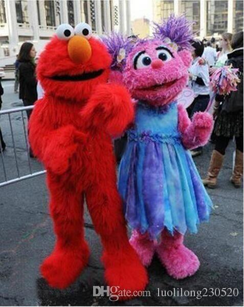 2017 DHigh qualidade Adulto adultos elmo mascot venda de alta qualidade Long Fur Elmo Mascot Costume