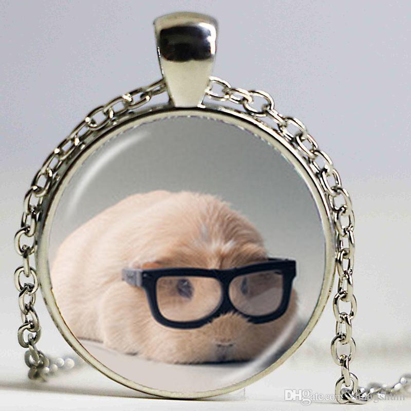 Pequeno Furry Animal Colar De Vidro Foto Medalhão Pingente de Cobaia Colar Lindo Cobaia Jóias Acessórios