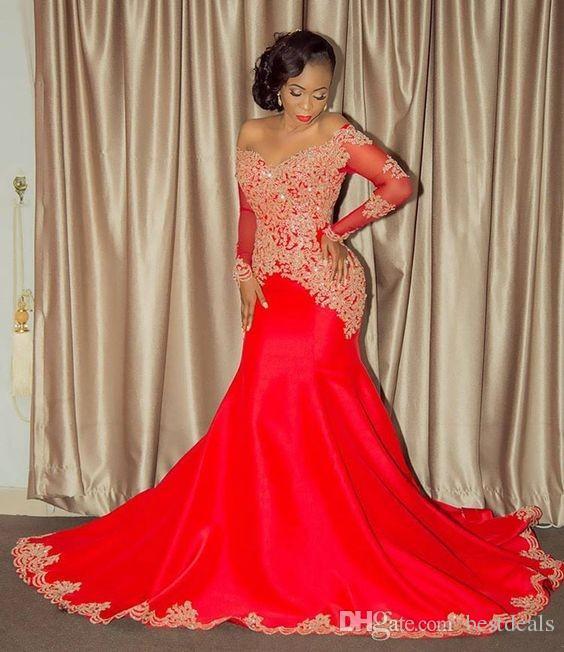 2017 elegante Afroamerikaner Schwarze Mädchen Abendkleid Mermaid Red Applique Perlen Lange Abendkleider Prom Kleider