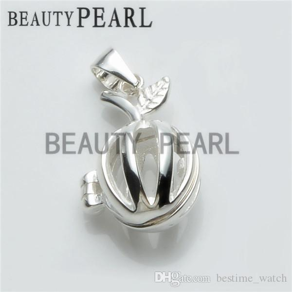 Bulk of 3 Pieces Apple Pearl Cage Pendant Small Locket Wishing Pearl Gift 925 Sterling Silver