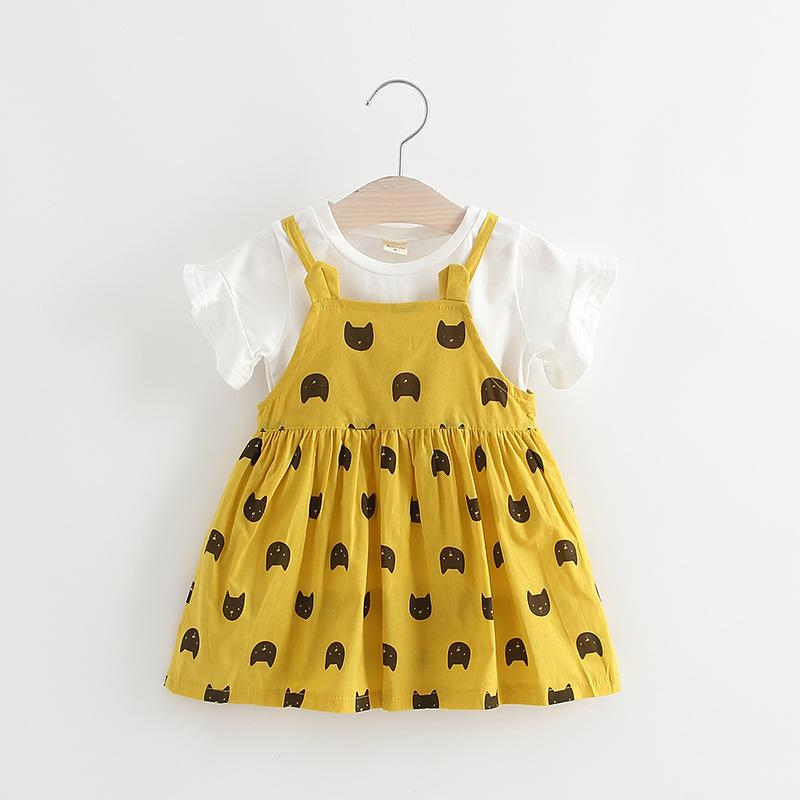 Clear Stock Girls Cat Suspender Dresses Outfits 2019 Summer New Kids Boutique Clothing Korean Little Girls Tee Top+Dresses 2 PC Set