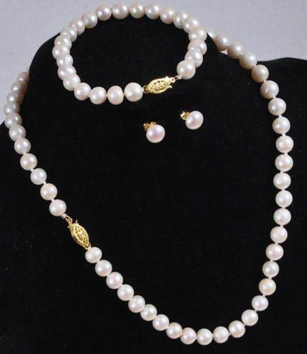 freies Verschiffen 7-8mm weiße Perlenkette Armband Ohrringe