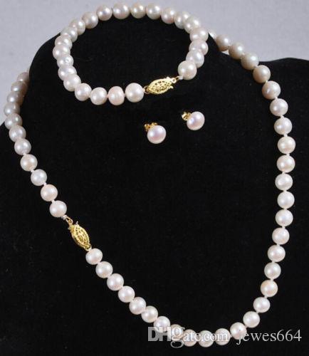 envío gratis 7-8mm weiße Perlenkette Brazal Ohrringe