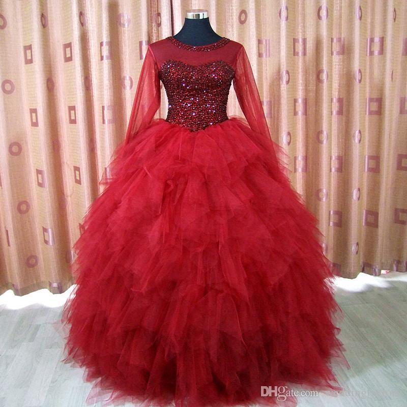 Lujo Borgoña Oscuro Rojo Quinceañera Vestidos Sheer Cuello de manga larga Cristales Top Ruffles Falda Corsé Bola Vestido Vestido de fiesta Vestido formal