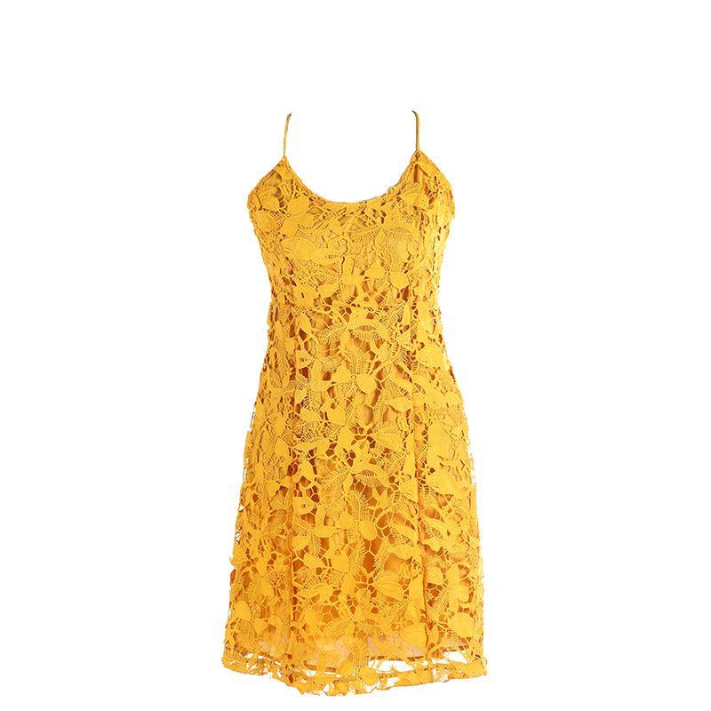 nuova moda donna abiti hollow 2019 estate nuova singola cinghia di spaghetti pizzo mini abiti volant bohemien sexy vestito da festa giallo vacanza