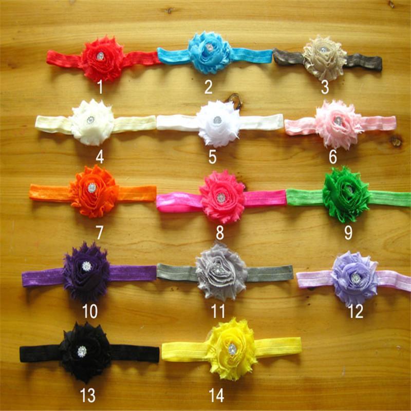Mädchen-Haar verziert heißes Verkaufs-Art- und Weisemädchen-Stirnband 28pcs / Lot 14colors schäbige Blumen mit Rhinestone-Knopf Hairband