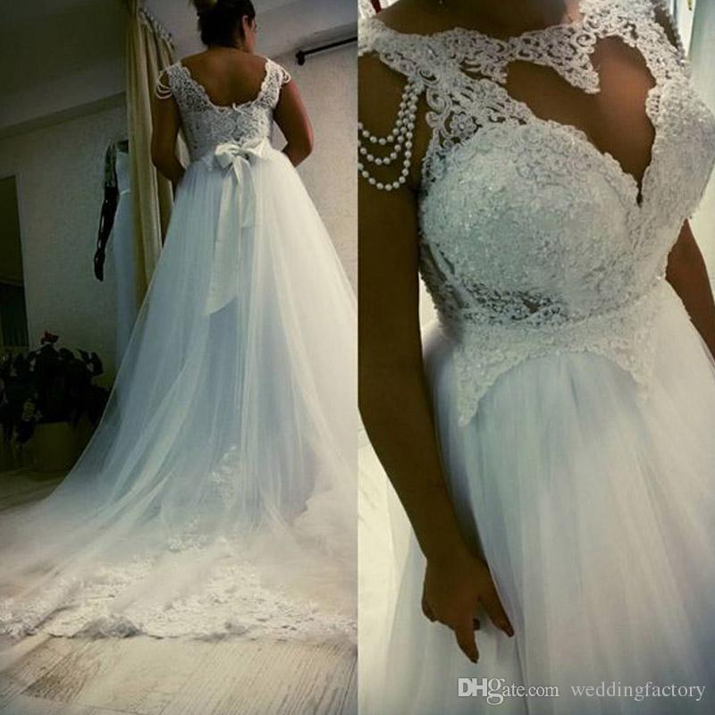 Gorgeous Plus Size Dress Western A Line Illsuion Bateau Cuello Apliques de encaje Top Falda de tul Vestidos de novia con perlas por encargo