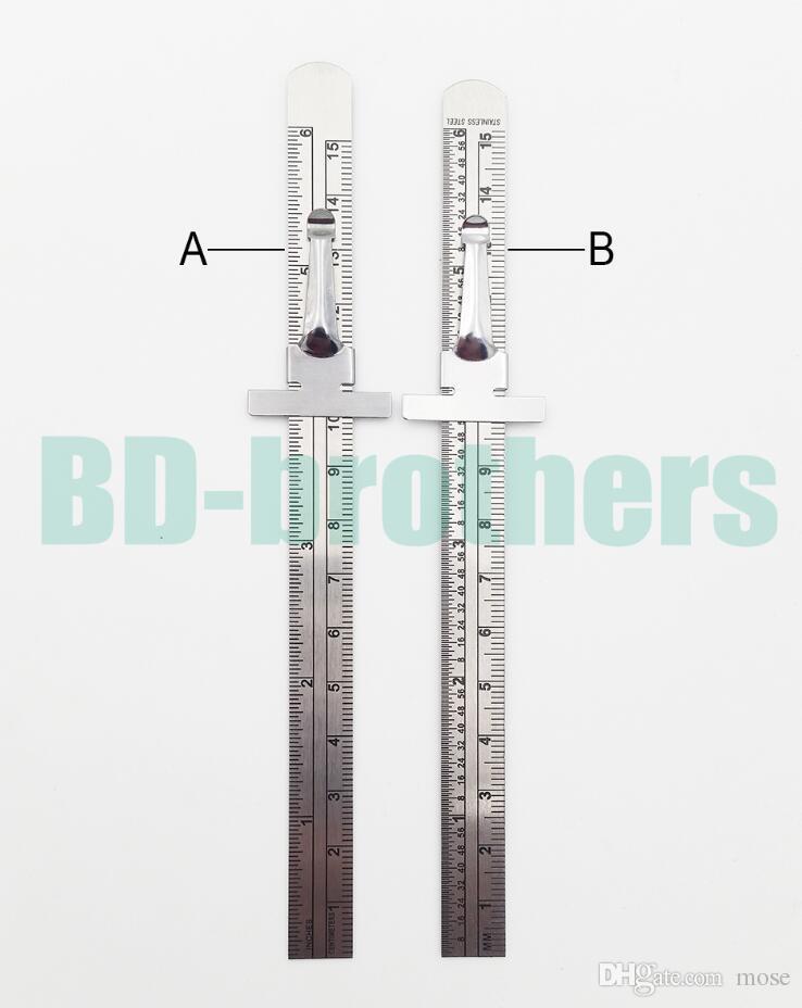 15cm en acier inoxydable règle droite en métal gradué échelle jauges de profondeur CM en pouces double face réparation règle outil de mesure 1000pcs / lot