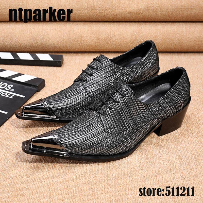 Italia Moda Uomo Scarpe Drak Grigio Formale in pelle scarpe da uomo per uomo punta in metallo punta scarpe in pelle da uomo Business sepatu pria, Big US6-12