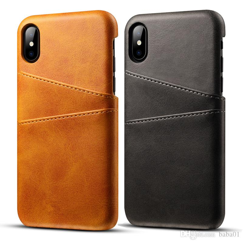 cheap for discount 64226 d21cf Hot Luxury Card Pocket PU Leather Cases Double Card Slots Cover For Iphone  X/Xs Max Xr 8 6 6s Plus 7 7 Plus Cell Phone Case Canada 2019 From Baba01,  ...