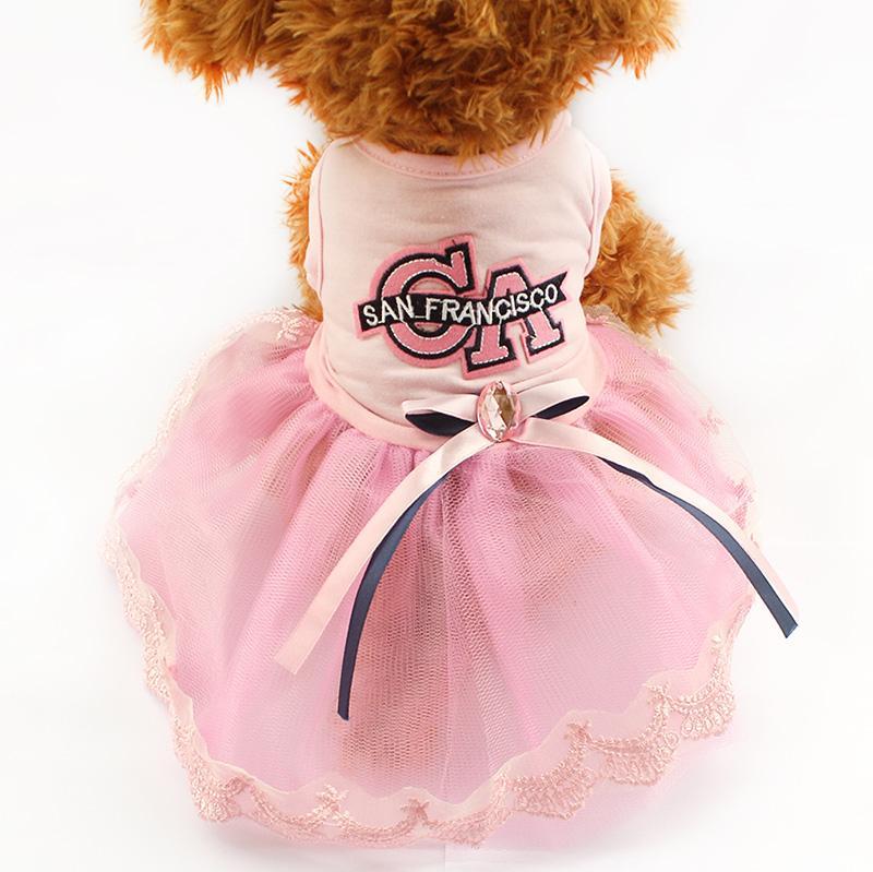 Armi mağaza Mektuplar Desen Yaz Köpek Elbise Pembe Prenses Elbiseler Köpekler Için 6071034 yavru Etek Giyim Malzemeleri XS S M L XL