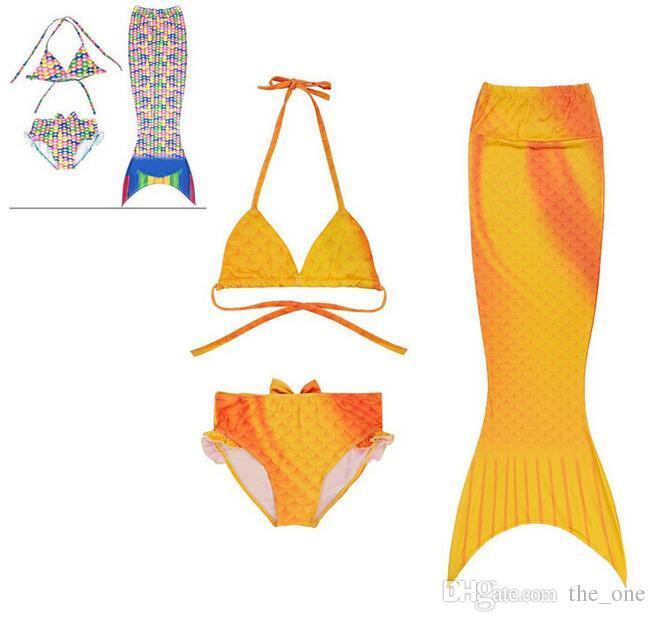 Çocuk Mayo 2017 Kız Çocuklar Mermaid Swimmable Bikini Set Fantezi Kız Plaj Mayo Mayo Bikini Ücretsiz Kargo