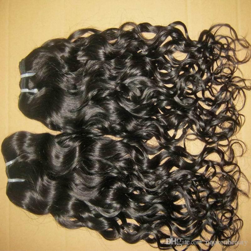 Top 8A non traitées Bouncy Natural Curls Vagues de cheveux indien trames de cheveux 3pcs / 300 Bundles épais épais DHL processus plus rapide et expédition