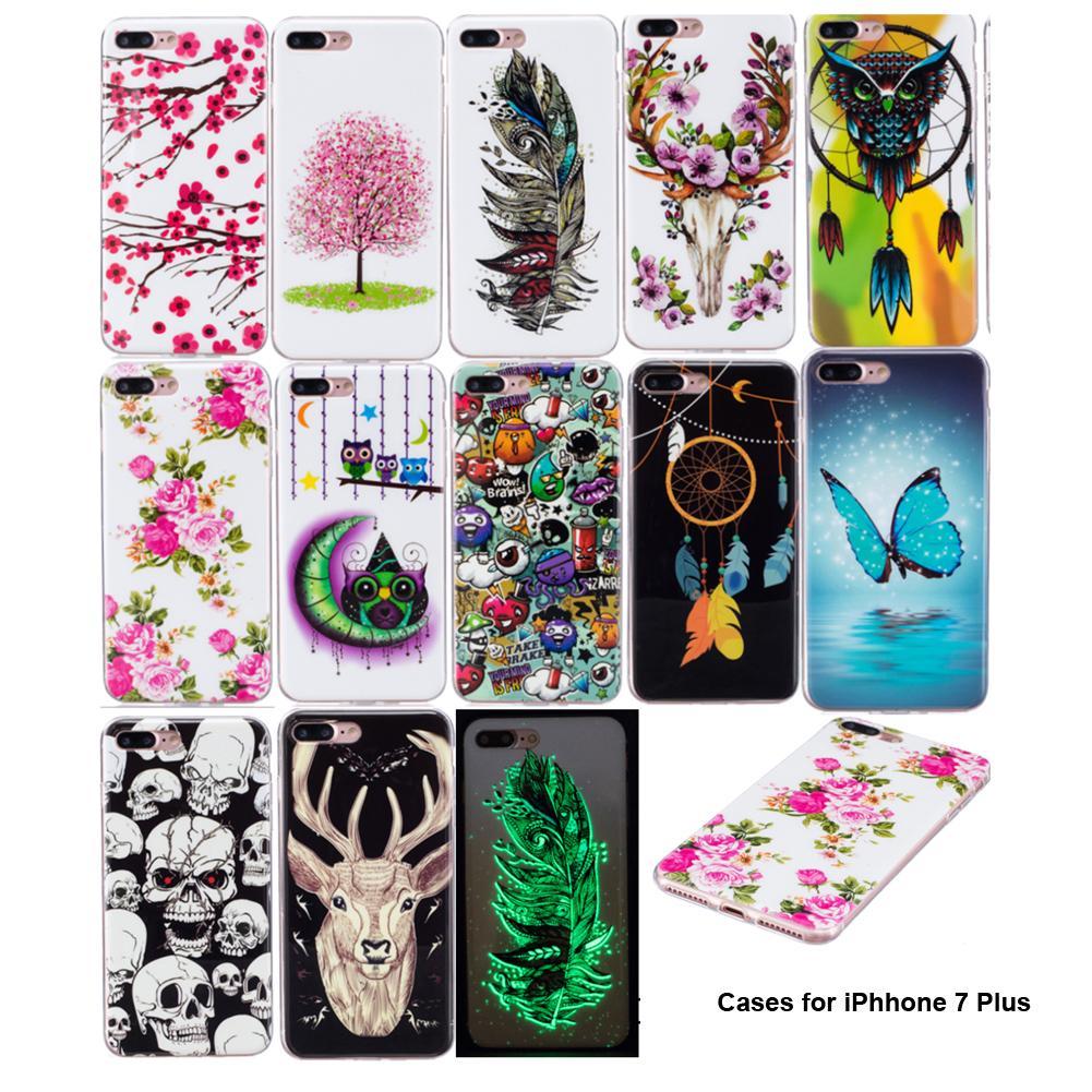 Para iphone 7 plus 7g 5.5 casos legal noctilucent luminosa borboleta flores coruja pena cervos pintura