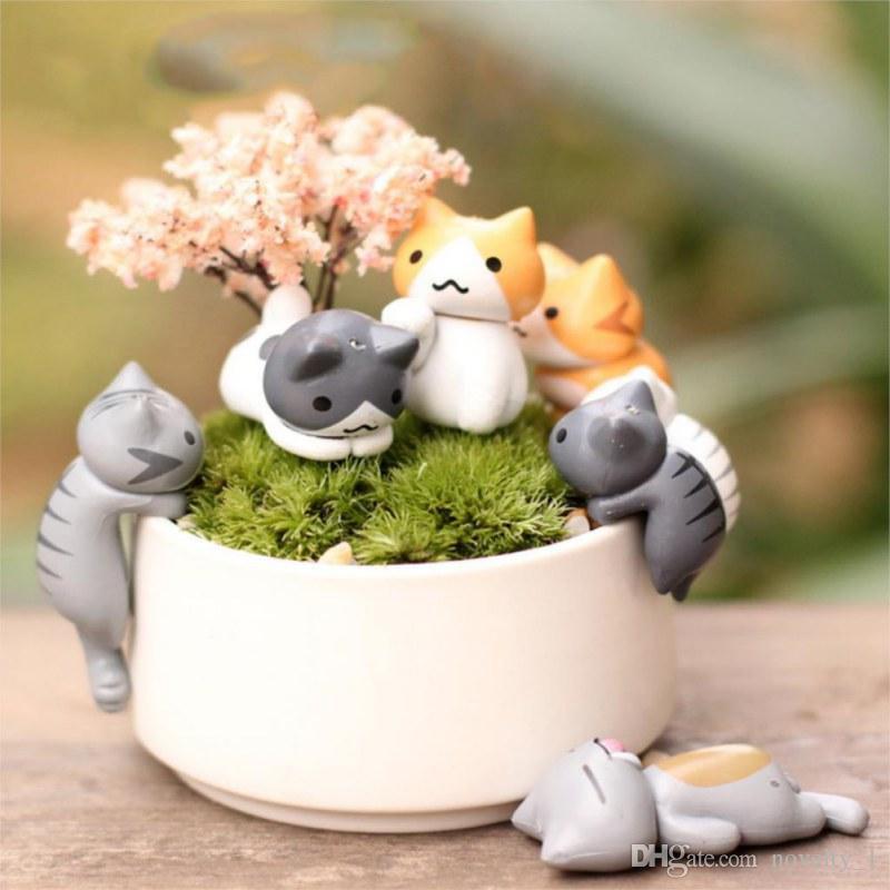 6pz Miniatura Gatto Micro Paesaggio In Resina Decor Giardino Casa Delle Bambole