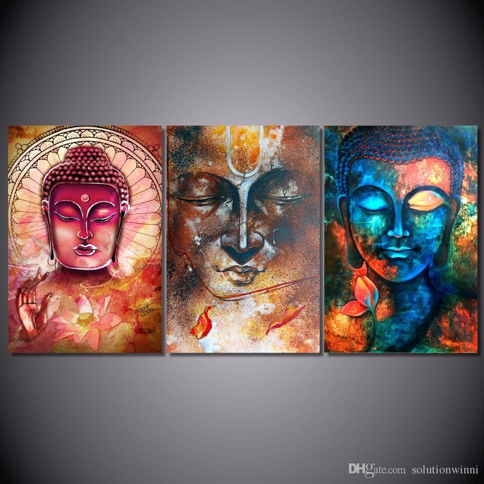 3 pcs HD imprimé Bouddha portrait art peinture toile de toile d'impression décor de la salle d'impression affiche picture table murale peinture art