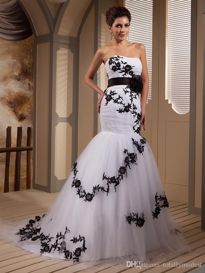Real Picture Designer Bianco e nero sirena Abiti da sposa Abiti da sposa Abiti da sposa Sweetheart Appliques Tulle Corset Vestido De Noiva su misura