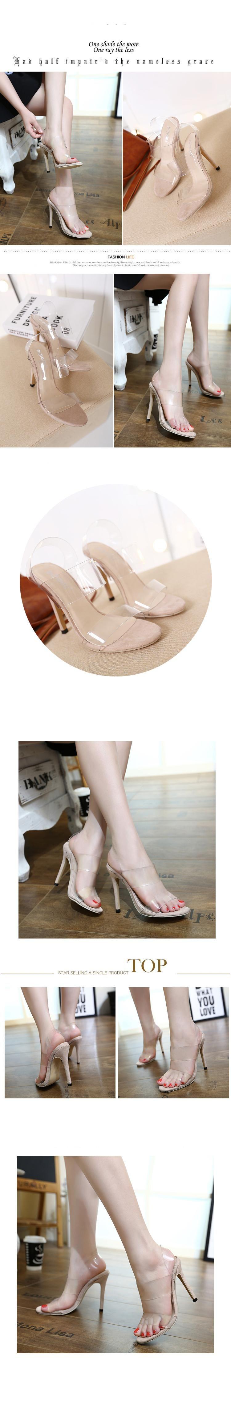 9880868378a638 Compre Concise Tornozelo Cinta Com Fivela Transparente Sandálias De Salto  Alto Transparente Mulheres Sapatos 2017 De Tradingbear, $29.45 | ...