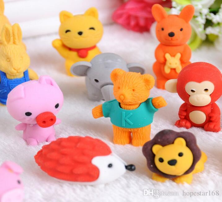 Correction Erasers 30 Style Mix Lovely Cartoon Eraser Cute Rubber Student Stationery Supplies Kids Gift Promotion