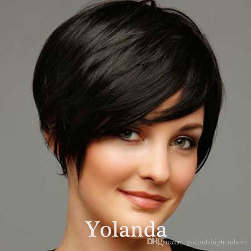Parrucche moda capelli umani Stile Rihanna Parrucca corta chic e regolare Parrucca brasiliana vergine glueless fatta a macchina Parrucche capelli umani di buona qualità