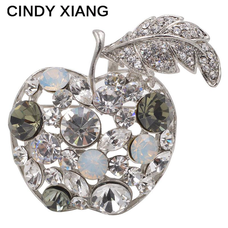 CINDY XIANG Full Rhinestone Apple Brooches For Women Shinnig Summer Brooch Pin Dress Coat Hat Broches Luxury Bijouterie Jewelry