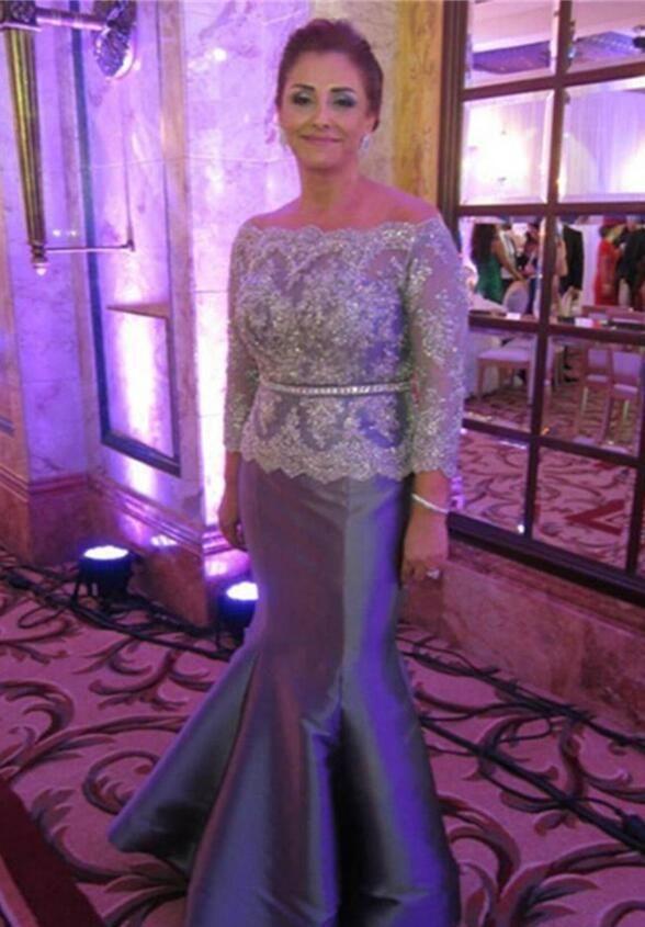 Compre Elegante Madre De Plata De Los Vestidos De Novia Para Bodas Zipper Lace Crystal Plus Size Wedding Gust Vestido De Noche Para Mujer Vestido De