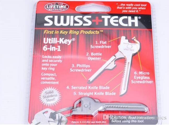 Новый 6 в 1 Utili ключ мини Мультитул брелок брелок нож кемпинг выживания карманные инструменты
