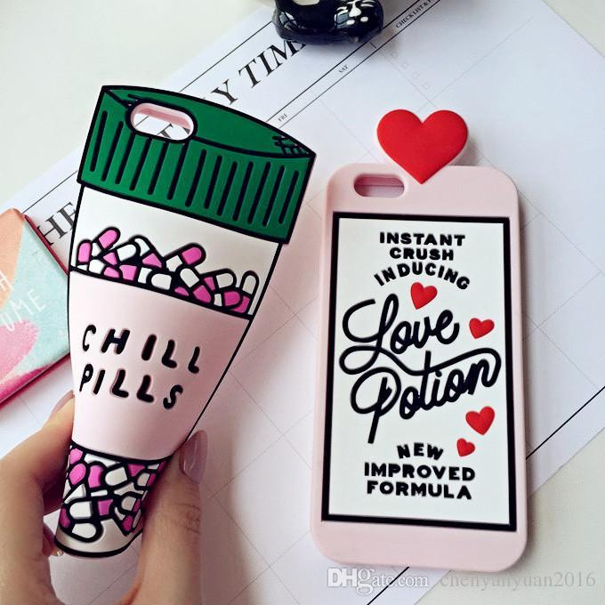 2016 3D Love Potion Chill Pills Bottle Phone Case For iPhone 7 PLUS 5 5s se 6 6S Plus Soft Silicone case