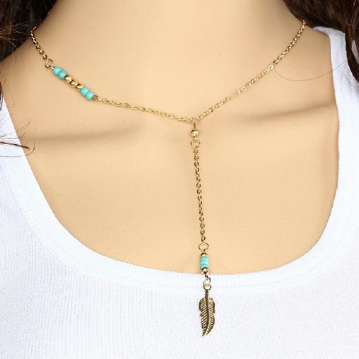 الفيروز يترك الترقوة قلادة 2-اللون اختياري مجوهرات للنساء الملابس والاكسسوارات الأزياء سلسلة معلقة الشحن المجاني