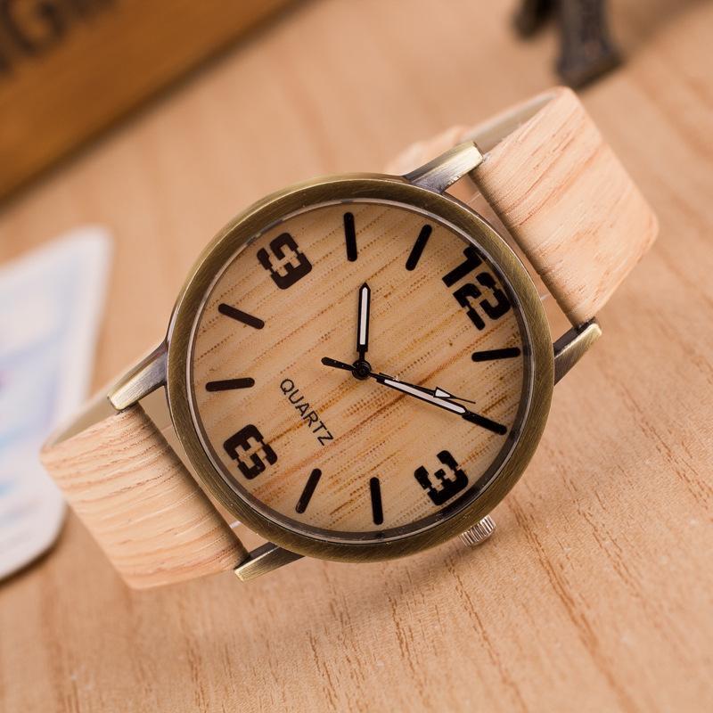 ore 2018 nuovi orologi di lusso del Mens di legno d'imitazione della vigilanza degli uomini Vintage quarzo del cuoio di legno di colore maschio vigilanza di orologio impermeabile 6 colori