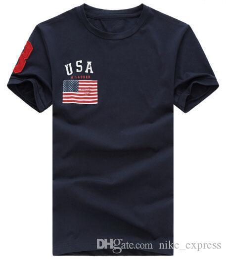 Смотреть Классические Мужчины Мода США Флаг Печать Повседневная Футболка с Большой Лошадь Лето Фитнес Мужская футболка Размер S-XXL Мужские Футболки Белый