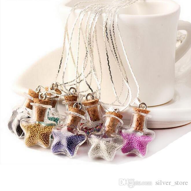 Diy Kork Glas Halskette Reisperle fünfzackigen Stern Flasche Glückswunsch Flasche Verkauf WFN300 (mit Kette) Mischungsauftrag 20 Stück viel