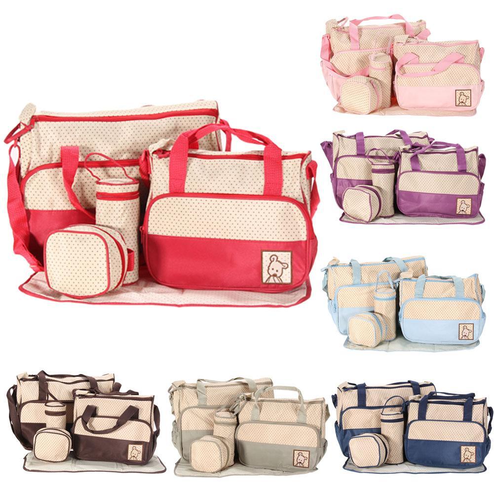 Commercio all'ingrosso- 5pcs / set multifunzione mummia bag bag pannolini per pannolini per pannolini che cambiano borsetta 5 dimensioni pannolini da pannolino abbigliamento bambino vestiti da latte bottiglia di stoccaggio