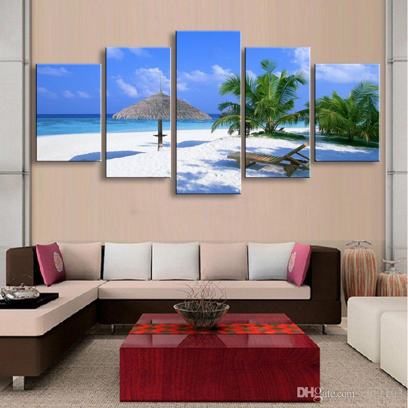 5 pieces high-definition print beach canvas painting poster and wall art living room picture PL5-178
