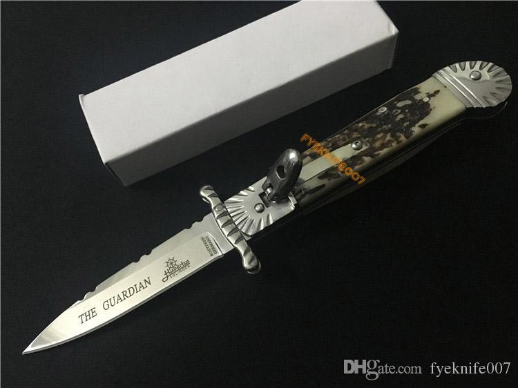 """Yeni 8.27"""" İtalya vaftiz Guardian Kol Loc Stag Horn 440C çelik Polonyalı düz mızrak noktası EDC taktik bıçak cebi ücretsiz nakliye Bıçaklar"""