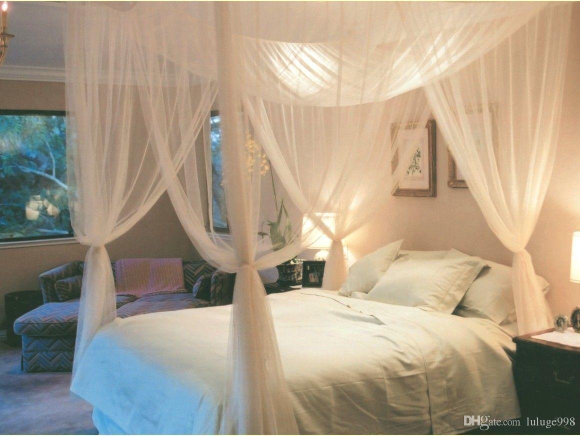 Branco 4 canto Post cama dossel mosquito Net completa rainha King Size Netting cama