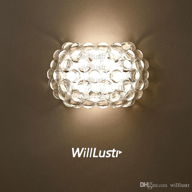 Willlustr Modern Design Light Wall Sconce Acrylic Ball Lighting Caboche Wall Lamp LED R7S bulb clear gold bead hotel cafe