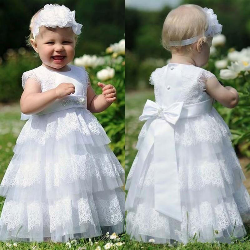 Tiered Cupcake Tulle First Communion Dresses 2017 Lace Appliques Floor Length Toddler Pageant Flower Girl Dress for Weddings Beaded Bow Sash