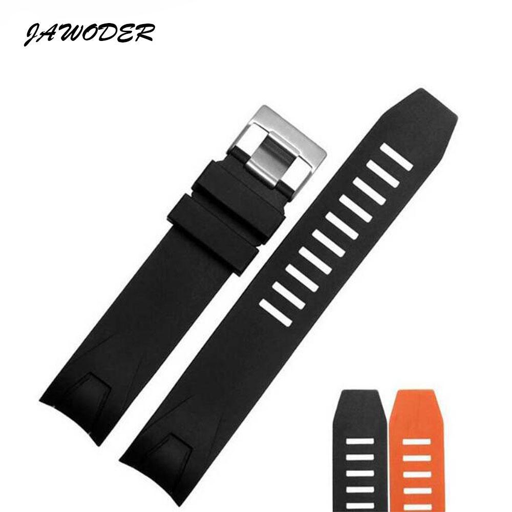 Jawwatch pulseira de 20 milímetros de 22mm preto laranja mergulho impermeável de borracha de silicone pulseira de relógio cintas de aço inoxidável pino de fivela para omega 2901.50.91