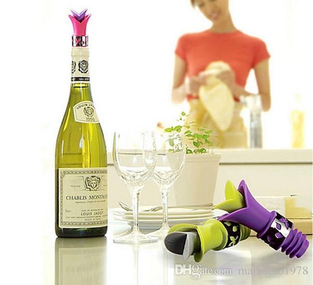 20pcs / lot 새로운 실리콘 릴리 병 마개 Leakproof 와인 Pourer 주방 파티 코르크 안티 엎 지르지 LB 451