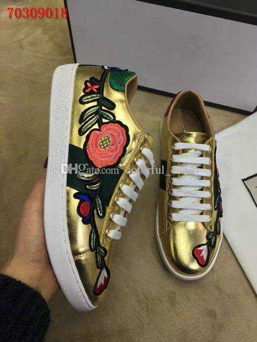 2017 новый дизайнер моды золото кожа роскошный цветок вышитые плоские туфли кроссовки для мужчин женские 35-45