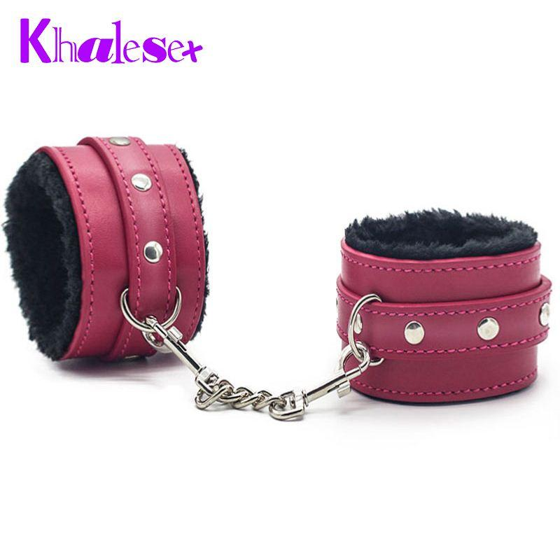 Sex Handcuffs Comfortable PU Leather Furry Fetish Restraints Bondage Ankle Cuffs Slave High Material Adult Sex Toys for Couple q4201