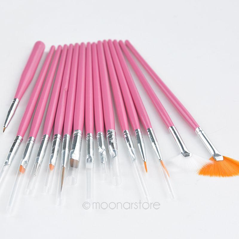 Brand New 15 pezzi Nail Art Decorazioni Set di pennelli Strumenti professionali Penna per la pittura per False Nail Tips UV Nail Gel Polish 2 colori